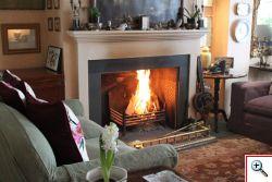 log fire at glebe house